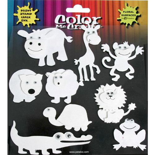 Petaloo - Color Me Crazy Collection - 3 Dimensional Foam Peel-n-Stick Stickers - Animals