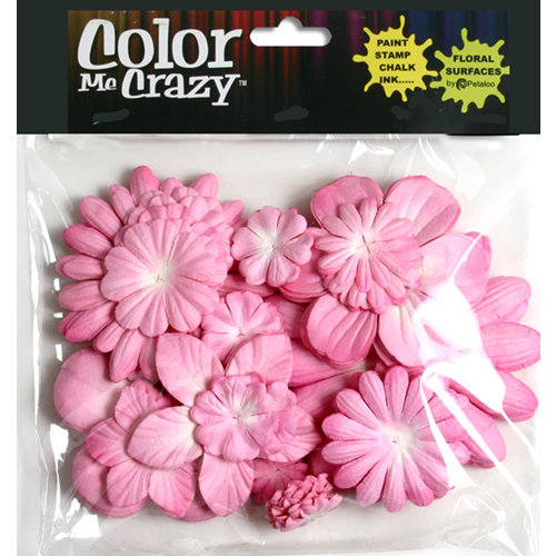 Petaloo - Color Me Crazy Collection - Mulberry Paper Flowers - Pink