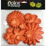 Petaloo - Color Me Crazy Collection - Mulberry Paper Flowers - Orange
