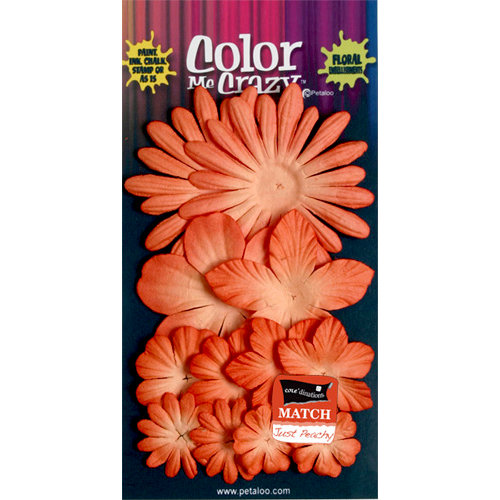 Petaloo - Color Me Crazy Collection - Core Matched Mulberry Paper Flowers - Paprika