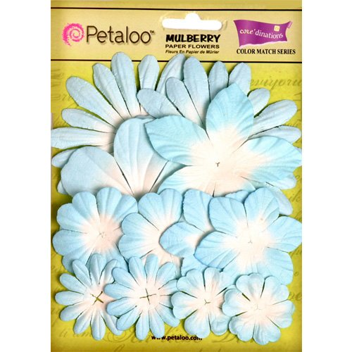 Petaloo - Color Me Crazy Collection - Core Matched Mulberry Paper Flowers - Bluebell