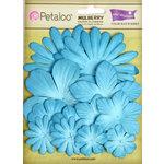 Petaloo - Color Me Crazy Collection - Core Matched Mulberry Paper Flowers - Marine Blue