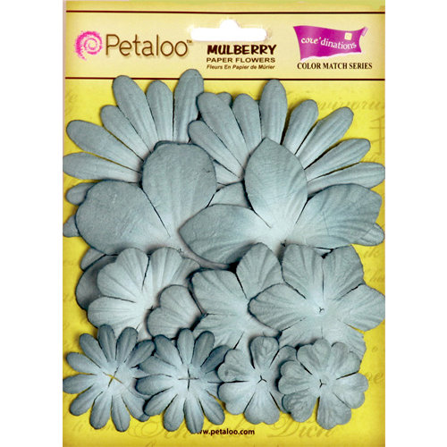 Petaloo - Color Me Crazy Collection - Core Matched Mulberry Paper Flowers - Marsh Blue