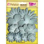 Petaloo - Color Me Crazy Collection - Core Matched Mulberry Paper Flowers - Marsh Blue