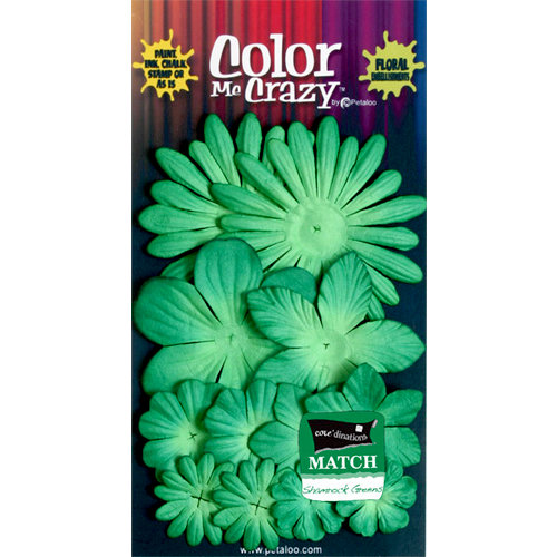 Petaloo - Color Me Crazy Collection - Core Matched Mulberry Paper Flowers - Shamrock