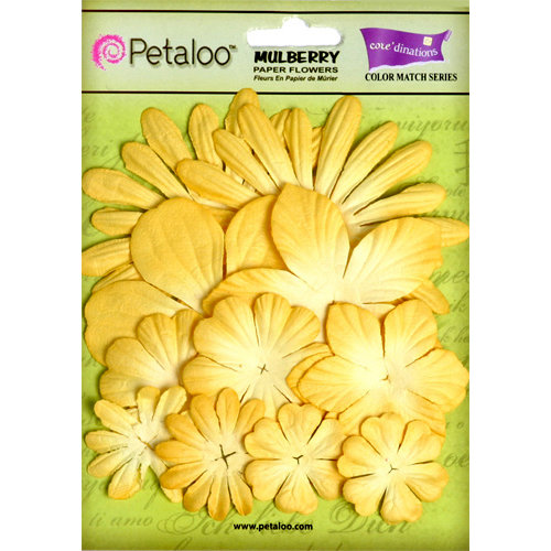 Petaloo - Color Me Crazy Collection - Core Matched Mulberry Paper Flowers - Tulip Yellow