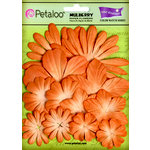 Petaloo - Color Me Crazy Collection - Core Matched Mulberry Paper Flowers - Tangerine