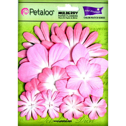 Petaloo - Color Me Crazy Collection - Core Matched Mulberry Paper Flowers - In the Pink