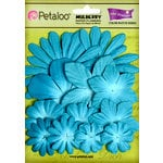 Petaloo - Flora Doodles Collection - Layering Mulberry Flowers - Aquarium