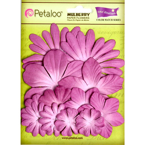 Petaloo - Flora Doodles Collection - Layering Mulberry Flowers - Sunrise Orchid