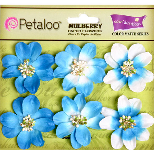 Petaloo - Flora Doodles Collection - Mulberry Flowers - Camelia - Marine Blue