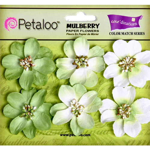 Petaloo - Flora Doodles Collection - Mulberry Flowers - Camelia - Mantis Green