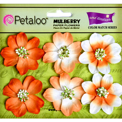 Petaloo - Flora Doodles Collection - Mulberry Flowers - Camelia - Tangerine