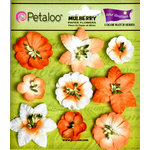 Petaloo - Flora Doodles Collection - Mulberry Flowers - Mini Floral - Tangerine