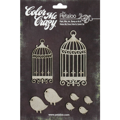 Petaloo - Color Me Crazy Collection - Chipboard Pieces - Birdhouses with Birds