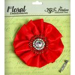 Petaloo - Estate Collection - Fancy Flower with Gem Center - Red