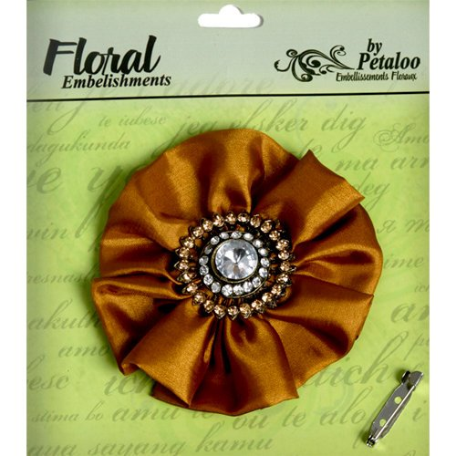 Petaloo - Estate Collection - Fancy Flower with Gem Center - Brown