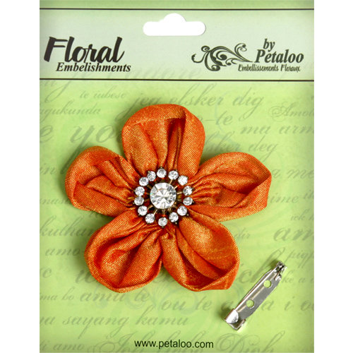 Petaloo - Estate Collection - Rounded Ribbon Flower with Gem Center - Orange