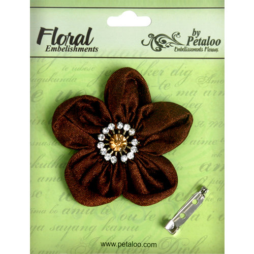 Petaloo - Estate Collection - Rounded Ribbon Flower with Gem Center - Brown