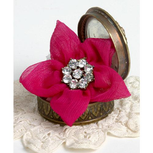 Petaloo - Estate Collection - Star Ribbon Flower with Gem Center - Fuchsia