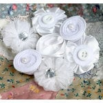 Petaloo - Expressions Collection - Mini Fabric Flowers - White 1