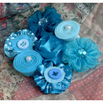 Petaloo - Expressions Collection - Mini Fabric Flowers - Blue