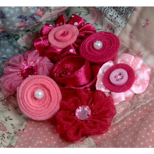 Petaloo - Expressions Collection - Mini Fabric Flowers - Fuchsia 1