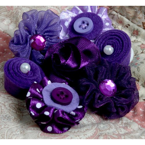 Petaloo - Expressions Collection - Mini Fabric Flowers - Purple