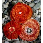 Petaloo - Expressions Collection - Fabric Flowers - Orange