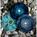 Petaloo - Expressions Collection - Fabric Flowers - Peacock Blue
