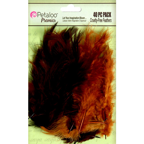 Petaloo - Expressions Collection - Feathers - Chocolate and Camel