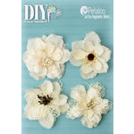 Petaloo - DIY Paintables Collection - Floral Embellishments - Burlap Blossoms - Ivory