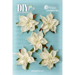 Petaloo - DIY Paintables Collection - Floral Embellishments - Burlap Poinsettias - Ivory