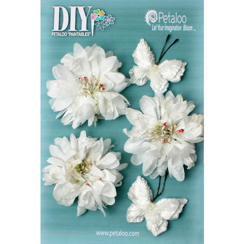 Petaloo - DIY Paintables Collection - Floral Embellishments - Mums and Butterflies - White