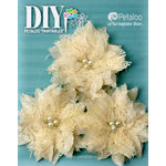 Petaloo - DIY Paintables Collection - Floral Embellishments - Burlap Birdsnest Flower - Ivory - 3 Pack