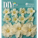 Petaloo - DIY Paintables Collection - Floral Embellishments - Burlap Flowers - Ivory