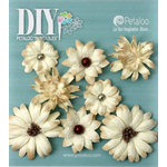 Petaloo - DIY Paintables Collection - Floral Embellishments - Mini Mix - Teastained Cream