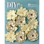 Petaloo - DIY Paintables Collection - Floral Embellishments - Dahlias - Teastained Cream