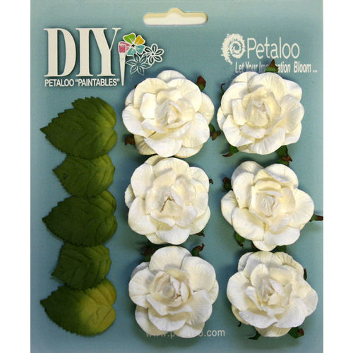 Petaloo - DIY Paintables Collection - Floral Embellishments - Garden Rosettes - White