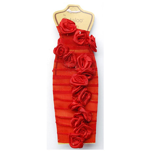 Petaloo - Ribbon Rose Garland - Red - 4 Feet
