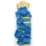 Petaloo - Crocheted Flower Garland - Dark Blue - 2 Feet