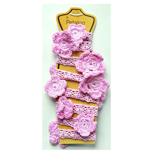 Petaloo - Crocheted Flower Garland - Light Pink - 2 Feet