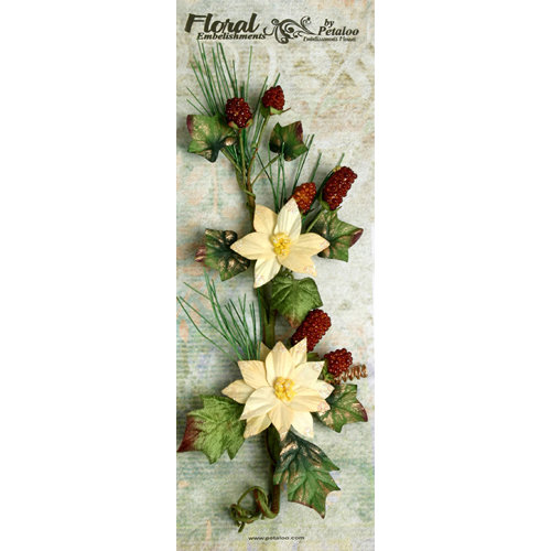 Petaloo - Canterbury Collection - Poinsettia and Berries Branch - Cream