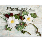 Petaloo - Canterbury Collection - Poinsettia and Berries Picks - White