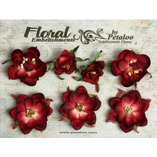 Petaloo - Canterbury Collection - Magnolia Blossoms - Burgundy