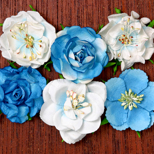 Petaloo - Canterbury Collection - Roses - Marine Blue