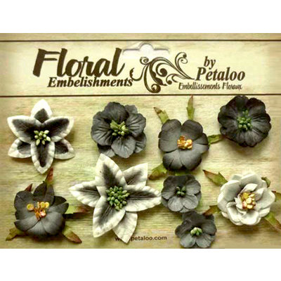 Petaloo - Canterbury Collection - Floral Embellishments - Mini - Charcoal