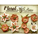 Petaloo - Canterbury Collection - Floral Embellishments - Mini - Paprika