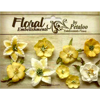 Petaloo - Canterbury Collection - Floral Embellishments - Mini - Lemon
