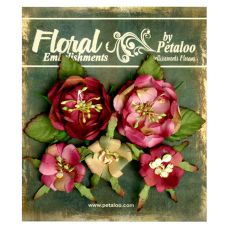 Petaloo - Canterbury Collection - Floral Embellishments - Naturals - Rose and Burgundy
